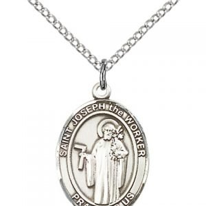 St Joseph The Worker Medal - Sterling Silver with 20 in. Chain - Engravable