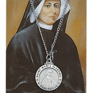 St. Maria Faustina Pendant and Prayer Card Set