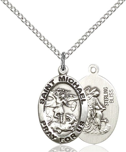 St. Michael the Archangel Medal - Sterling Silver - Medium (#83126)