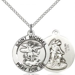 St. Michael the Archangel Medal - Sterling Silver - Medium (#83195)