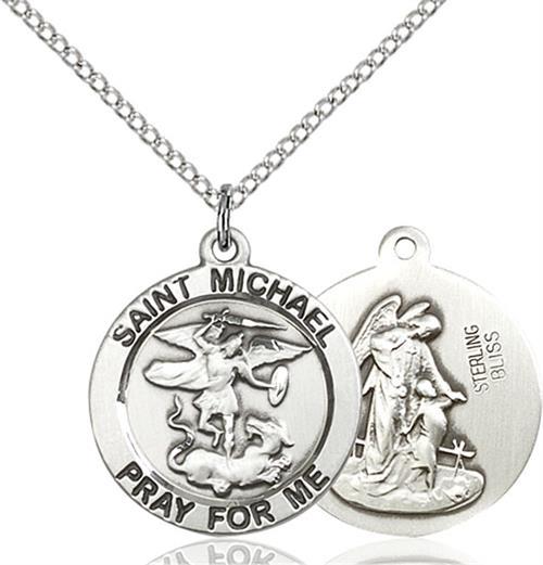 St. Michael the Archangel Medal - Sterling Silver - Medium (#83195)