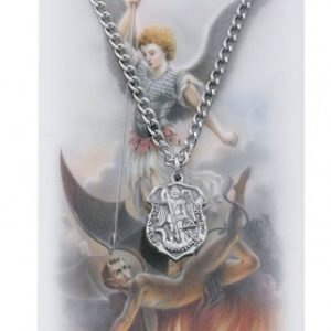 St Michael Police Prayer Card and Neckace with Medal Large