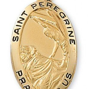 St. Peregrine Medal in Gold over Sterling Silver