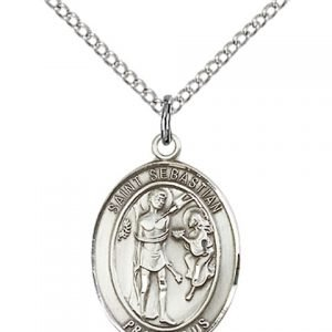 St. Sebastian Medal - Sterling Silver with 20 in. Chain - Engravable (#19008)