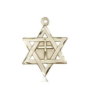 14kt Gold Star of David W - Cross Medal #87362