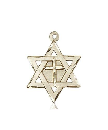 14kt Gold Star of David W - Cross Medal #87362