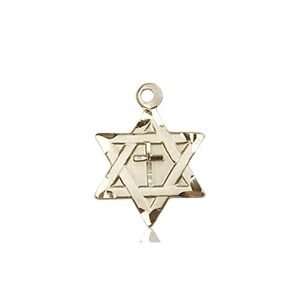 14kt Gold Star of David W - Cross Medal #87366