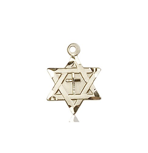 14kt Gold Star of David W - Cross Medal #87366