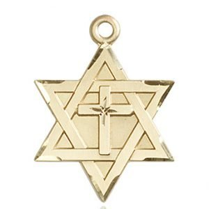 14kt Gold Star of David W - Cross Medal #87370