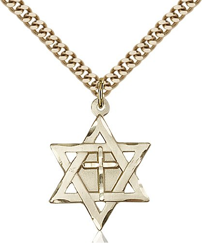 Gold Filled Star of David W - Cross Necklace #87360