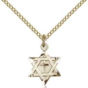 Gold Filled Star of David W - Cross Necklace #87364