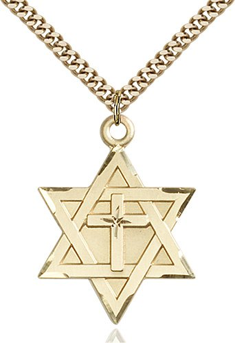 Gold Filled Star of David W - Cross Necklace #87368