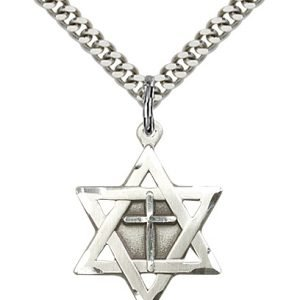 Sterling Silver Star of David W - Cross Necklace #87363