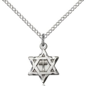 Sterling Silver Star of David W - Cross Necklace #87367