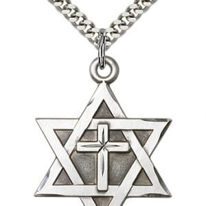 Sterling Silver Star of David W - Cross Necklace #87371