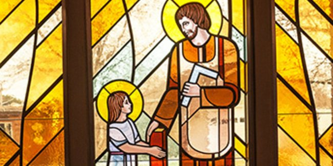 St Joseph the worker stained glass window