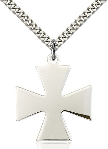 Sterling Silver Surfer Cross Necklace #87435