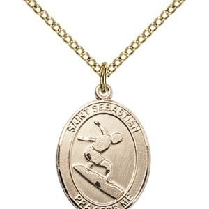 Gold Filled St. Sebastian/Surfing Pendant