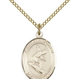 Gold Filled St. Christopher/Surfing Pendant