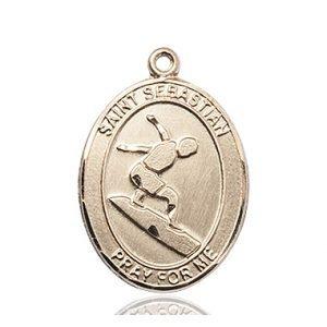 14kt Gold St. Sebastian/Surfing Medal