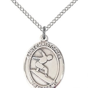 Sterling Silver St. Christopher/Surfing Pendant