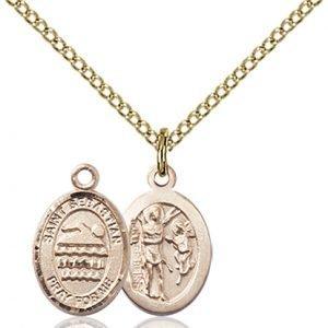 Gold Filled St. Sebastian/Swimming Pendant