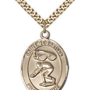 Gold Filled St. Sebastian / Swimming Pendant