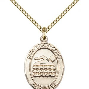 Gold Filled St. Christopher/Swimming Pendant