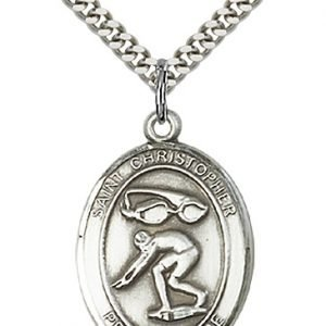Sterling Silver St. Christopher/Swimming Pendant