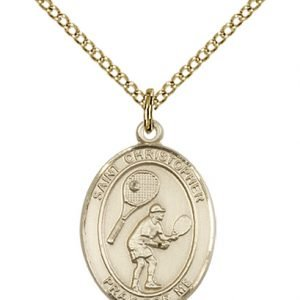 Gold Filled St. Christopher/Tennis Pendant