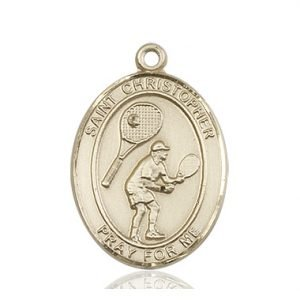 14kt Gold St. Christopher/Tennis Medal