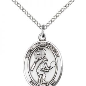 Sterling Silver St. Christopher/Tennis Pendant