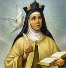 Saint Teresa of Avila with Dove, the Symbol of the Holy Spirit