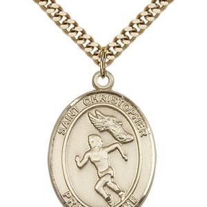 Gold Filled St. Christopher/Track & Field Pendant