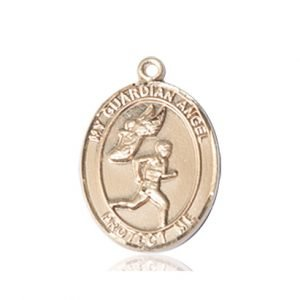 14kt Gold Guardian Angel/Track & Field-Men Medal
