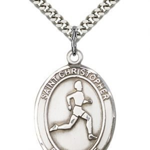 Sterling Silver St. Christopher/Track & Field Pendant