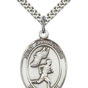 Sterling Silver St. Christopher/Track & Field Men Pe