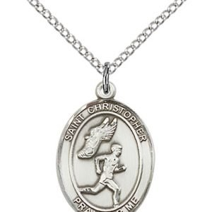 Sterling Silver St. Christopher/Track & Field Men Pendant