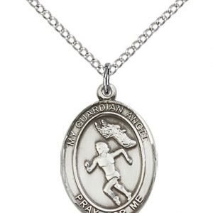 Sterling Silver Guardian Angel/Track & Field Pendant