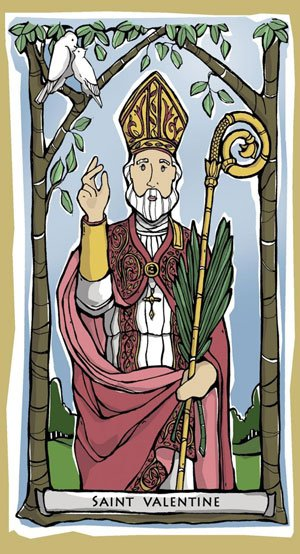 Holy Card image of St Valentine with red clak and palm branches, symbols of his martyrdom
