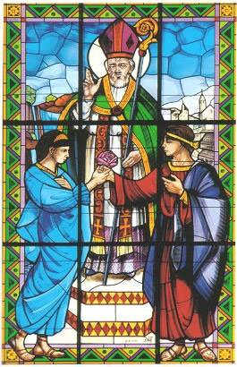 Image of a Stained glass window depicting Saint Valentine blessing a man and a woman