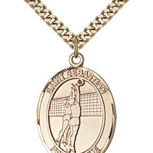 Gold Filled St. Sebastian / Volleyball Pendant