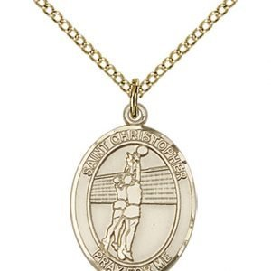 Gold Filled St. Christopher/Volleyball Pendant