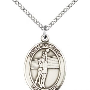 Sterling Silver St. Sebastian / Volleyball Pendant