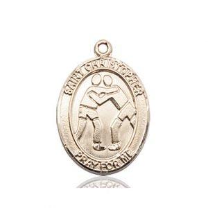 14kt Gold St. Christopher/Wrestling Medal