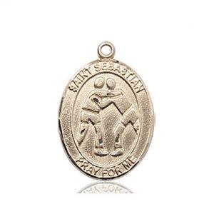 14kt Gold St. Sebastian/Wrestling Medal